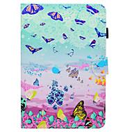 Недорогие Чехлы и кейсы для Samsung Tab-Кейс для Назначение SSamsung Galaxy Tab A 8.0 Бумажник для карт со стендом Флип С узором Авто Режим сна / Пробуждение Чехол Бабочка