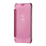 Недорогие Чехлы и кейсы для Galaxy A7(2016)-Кейс для Назначение SSamsung Galaxy A8 2018 A8 Plus 2018 Зеркальная поверхность Авто Режим сна / Пробуждение Чехол Сплошной цвет Твердый