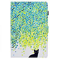 Недорогие Чехлы и кейсы для Samsung Tab-Кейс для Назначение SSamsung Galaxy Tab A 10.1 (2016) со стендом Флип С узором Авто Режим сна / Пробуждение Чехол Кот Твердый Кожа PU для