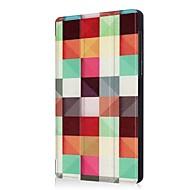 お買い得  携帯電話ケース-ケース 用途 Lenovo Tab 7 スタンド付き 折りたたみ式 フルボディーケース 幾何学模様 フクロウ エッフェル塔 ハード PUレザー のために Lenovo Tab 7