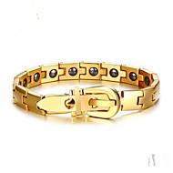 Ανδρικά Μαύρο ματ Γεωμετρική Βραχιόλια με Αλυσίδα & Κούμπωμα Ανοξείδωτος Μοντέρνα Βραχιόλια Κοσμήματα Χρυσό / Ασημί Για Πάρτι Δώρο