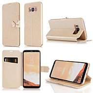 Недорогие Чехлы и кейсы для Galaxy S8-Кейс для Назначение SSamsung Galaxy S9 S9 Plus Бумажник для карт Стразы со стендом Флип Чехол Однотонный Твердый Кожа PU для S9 Plus S9