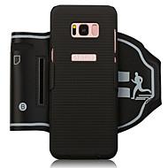 Недорогие Чехлы и кейсы для Galaxy S8-Кейс для Назначение SSamsung Galaxy S8 Plus / S8 Спортивные повязки / Бумажник для карт / Защита от удара С ремешком на руку Однотонный Мягкий ПК для S8 Plus / S8