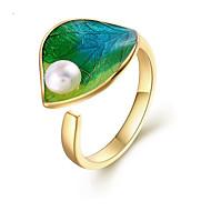 levne -Dámské Perla manžeta Ring Pozlaceno 18k Perly S925 Sterling Silver Leaf Shape Evropský Fashion Ring Šperky Zelená Pro Dar Night out & Special occasion Nastavitelný