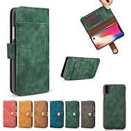 Кейс для Назначение Apple iPhone X iPhone 8 Бумажник для карт Кошелек Флип Чехол Однотонный Твердый Кожа PU для iPhone X iPhone 8 Pluss