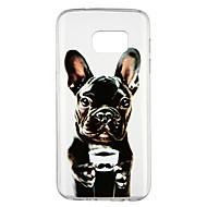 Недорогие Чехлы и кейсы для Galaxy S7-Кейс для Назначение SSamsung Galaxy S7 Прозрачный С узором Кейс на заднюю панель С собакой Мультипликация Мягкий ТПУ для S7