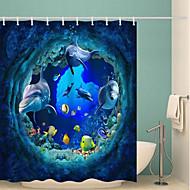 お買い得  浴室用小物-シャワーカーテン&フック クラシック ポリエステル ノベルティ柄 機械製 防水 浴室