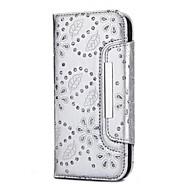 Недорогие Чехлы и кейсы для Galaxy S9 Plus-Кейс для Назначение SSamsung Galaxy S9 S9 Plus Бумажник для карт Кошелек Стразы со стендом Чехол Однотонный Цветы Твердый Настоящая кожа