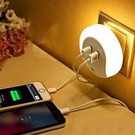 abordables Lámparas LED Novedosas-Luz de noche LED Blanco Cálido Smart USB Dual Cargador de teléfono Control de luz 110-120V 220-240V