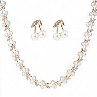 preiswerte -Damen Künstliche Perle / Zirkon Blattform Schmuck-Set 1 Halskette / Ohrringe - Modisch Weiß Schmuckset / Ohrstecker / Ketten Für Hochzeit