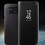 Недорогие Чехлы и кейсы для Galaxy S6 Edge Plus-Кейс для Назначение SSamsung Galaxy S8 Plus / S8 со стендом / Зеркальная поверхность / Флип Чехол Однотонный Твердый Кожа PU для S8 Plus / S8 / S7 edge