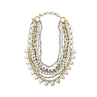 זול -בגדי ריקוד נשים גיאומטרי שרשראות הצהרה / שרשראות Layered - ציפוי זהב גַל וינטאג', ארופאי, גדול לבן, טווס גרין 45 cm שרשראות תכשיטים עבור מסיבה\אירוע ערב, מתנה