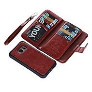 Недорогие Чехлы и кейсы для Galaxy S7-Кейс для Назначение SSamsung Galaxy S9 S9 Plus Бумажник для карт Кошелек Флип Чехол Однотонный Твердый Настоящая кожа для S9 Plus S9 S8