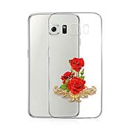 Недорогие Чехлы и кейсы для Galaxy S7 Edge-Кейс для Назначение SSamsung Galaxy S7 edge Прозрачный С узором Кейс на заднюю панель Цветы Мягкий ТПУ для S7 edge