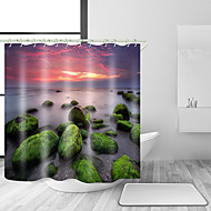 お買い得  浴室用小物-シャワーカーテン&フック コンテンポラリー 地中海風 ポリエステル 現代風 ノベルティ柄 機械製 防水 浴室