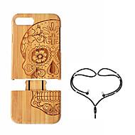 Недорогие Кейсы для iPhone 8 Plus-Кейс для Назначение Apple iPhone 8 Plus iPhone 7 Plus Защита от удара Кейс на заднюю панель Черепа Твердый Бамбук для iPhone 8 Pluss