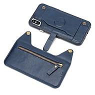 Недорогие Кейсы для iPhone 8 Plus-Кейс для Назначение Apple iPhone X iPhone 8 Plus Бумажник для карт Кошелек Кейс на заднюю панель Однотонный Твердый Настоящая кожа для