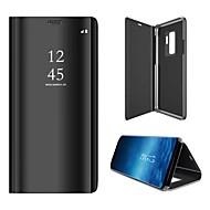 Недорогие Чехлы и кейсы для Galaxy S7-Кейс для Назначение SSamsung Galaxy S9 S9 Plus со стендом Зеркальная поверхность Чехол Однотонный Твердый Кожа PU для S9 Plus S9 S8 Plus