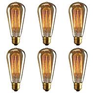 abordables Bombillas Incandescentes-BRELONG® 6pcs 40W E26 / E27 Amarillo 2000-2200k Decorativa Bombilla incandescente Vintage Edison 220-240V