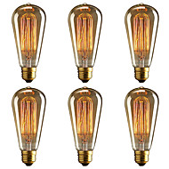 billige Glødelampe-brelong 6 stk e27 40w st64 dimmable edison dekorative pære varm hvit