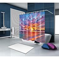 お買い得  浴室用小物-シャワーカーテン&フック カジュアル 地中海風 ポリエステル 現代風 ノベルティ柄 機械製 防水 浴室