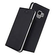Недорогие Чехлы и кейсы для Galaxy S9 Plus-Кейс для Назначение SSamsung Galaxy S9 Plus / S9 Бумажник для карт / со стендом / Флип Чехол Однотонный Твердый Кожа PU для S9 / S9 Plus