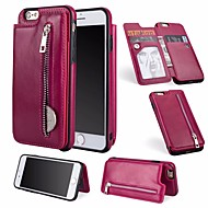 Недорогие Кейсы для iPhone 8-Кейс для Назначение Apple iPhone 6 / iPhone 7 Бумажник для карт / Кошелек / со стендом Чехол Однотонный Твердый Кожа PU для iPhone 8 /