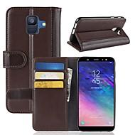 Недорогие Чехлы и кейсы для Galaxy A7(2017)-Кейс для Назначение SSamsung Galaxy A8 2018 / A6 (2018) Кошелек / Бумажник для карт / со стендом Чехол Однотонный Твердый Настоящая кожа