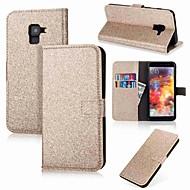 Недорогие Чехлы и кейсы для Galaxy A5(2016)-Кейс для Назначение SSamsung Galaxy A8 2018 A8 Plus 2018 Бумажник для карт Кошелек Флип Сияние и блеск Чехол Однотонный Сияние и блеск