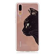 お買い得  携帯電話ケース-ケース 用途 Huawei P20 / P20 lite 半透明 バックカバー 猫 ソフト TPU のために Huawei P20 / Huawei P20 Pro / Huawei P20 lite