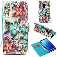 Недорогие Чехлы и кейсы для Galaxy S9 Plus-Кейс для Назначение SSamsung Galaxy S9 Plus / S9 Кошелек / Бумажник для карт / со стендом Чехол Цветы Твердый Кожа PU для S9 / S9 Plus /