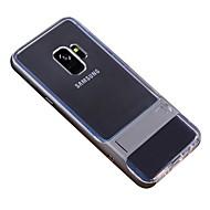 Недорогие Чехлы и кейсы для Galaxy S9-Кейс для Назначение SSamsung Galaxy S9 Plus / S9 со стендом / Прозрачный Кейс на заднюю панель Однотонный Мягкий ТПУ для S9 / S9 Plus / S8 Plus
