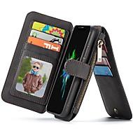 Недорогие Кейсы для iPhone 8-Кейс для Назначение Apple iPhone X / iPhone 7 Бумажник для карт / Кошелек / со стендом Чехол Однотонный Твердый Кожа PU для iPhone X /