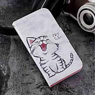 お買い得  携帯電話ケース-ケース 用途 Wiko WIKO Sunny 2 plus ウォレット / カードホルダー / スタンド付き フルボディーケース 猫 ハード PUレザー のために Wiko View prime / Wiko Lenny 4 PLUS