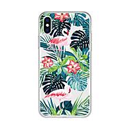 Недорогие Кейсы для iPhone 8 Plus-Кейс для Назначение Apple iPhone X / iPhone 8 Plus С узором Кейс на заднюю панель Растения / Фламинго / Мультипликация Мягкий ТПУ для