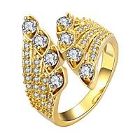 お買い得  -女性用 合成ダイヤモンド バンドリング  -  ゴールドメッキ かわいいスタイル 7 / 8 ゴールド / ローズゴールド 用途 日常 デート