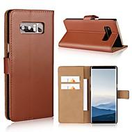 Недорогие Чехлы и кейсы для Galaxy Note-Кейс для Назначение SSamsung Galaxy Note 8 / Note 5 Кошелек / Бумажник для карт / Флип Чехол Однотонный Твердый Кожа PU для Note 8 / Note 5 / Note 4