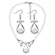 preiswerte -Damen Hohl Schmuck-Set - Künstliche Perle Tropfen Europäisch, Modisch Einschließen Halskette / Ohrring Gold / Silber Für Party