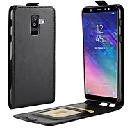 Недорогие Чехлы и кейсы для Galaxy А-Кейс для Назначение SSamsung Galaxy A8 2018 / A6 (2018) Бумажник для карт / Флип Чехол Однотонный Твердый Кожа PU для A6 (2018) / A6+ (2018) / A8 2018