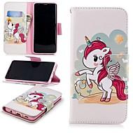 Недорогие Чехлы и кейсы для Galaxy S9-Кейс для Назначение SSamsung Galaxy S9 Кошелек / Бумажник для карт / со стендом Чехол единорогом Твердый Кожа PU для S9