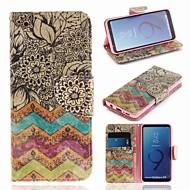 Недорогие Чехлы и кейсы для Galaxy S-Кейс для Назначение SSamsung Galaxy S9 Кошелек / Бумажник для карт / со стендом Чехол Полосы / волосы Твердый Кожа PU для S9