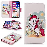 Недорогие Кейсы для iPhone 8 Plus-Кейс для Назначение Apple iPhone X / iPhone 8 Plus Кошелек / Бумажник для карт / со стендом Чехол единорогом Твердый Кожа PU для iPhone X / iPhone 8 Pluss / iPhone 8