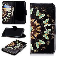 Недорогие Чехлы и кейсы для Galaxy S9 Plus-Кейс для Назначение SSamsung Galaxy S9 Plus / S9 Кошелек / Бумажник для карт / со стендом Чехол Бабочка Твердый Кожа PU для S9 / S9 Plus