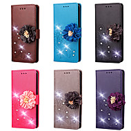 Case For HTC U Ultra / HTC U Play Wallet / Card Holder / Rhinestone Full Body Cases Solid Colored / Flower Hard PU Leather for HTC U11 / HTC U Ultra / HTC U Play