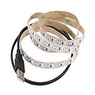cheap -1m Flexible LED Light Strips 60 LEDs Warm White / White Cuttable / USB / Decorative USB Powered 1pc