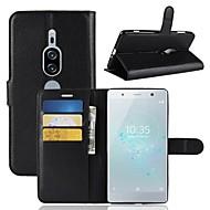 お買い得  携帯電話ケース-ケース 用途 Sony Xperia XZ2 / Xperia XZ2 Premium ウォレット / カードホルダー / フリップ フルボディーケース ソリッド ハード PUレザー のために Xperia XZ2 Compact / Sony Xperia XZ2 Premium / Xperia XZ2
