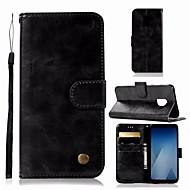 お買い得  Samsung 用 ケース/カバー-ケース 用途 Samsung Galaxy A6 (2018) ウォレット / カードホルダー / スタンド付き フルボディーケース ソリッド ハード PUレザー のために A6 (2018)
