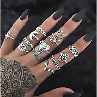 Women's Vintage Style Hollow Out Band Ring Ring Set Rhinestone Alloy Creative Ladies Vintage Bohemian Ring Jewelry Gold / Silver For Daily Street 13pcs