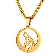 ieftine -Bărbați Coliere cu Pandativ Funie Animal Lup Modă Teak Auriu Argintiu 55 cm Coliere Bijuterii 1 buc Pentru Cadou Zilnic