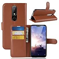 お買い得  携帯電話ケース-ケース 用途 Nokia Nokia 5.1 / Nokia X6 ウォレット / カードホルダー / フリップ フルボディーケース ソリッド ハード PUレザー のために Nokia 8 / 8 Sirocco / Nokia 7